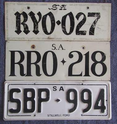 1970'S SA x 3 LICENSE/NUMBER PLATES