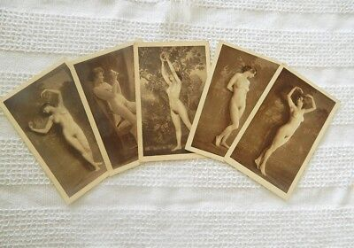 Set Of 5 Different Vintage French Risque Nude Post Cards Good Condition
