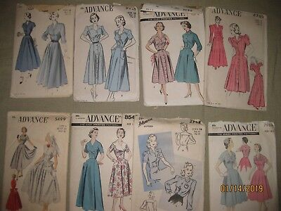 "Lot of 8 VINTAGE 1940s-50s misses sewing patterns, ""Advantage""  (most Size 16)"