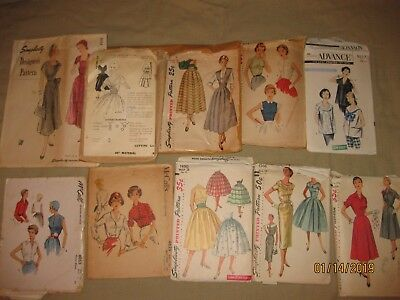 Lot of 10 Vintage 1950s sewing patterns, bust 34-36 Mixed brands