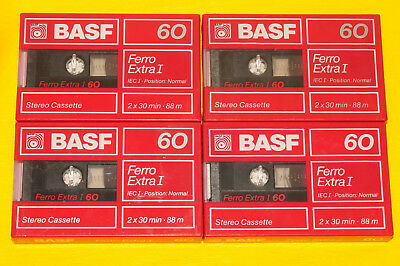 4x BASF Ferro Extra I 60 Cassette Tapes 1988 + OVP + SEALED +