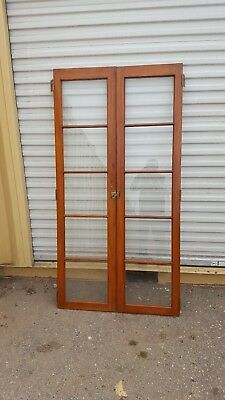 2 Vintage French doors for cabinet gum wood finish all brass hard wear 1940s