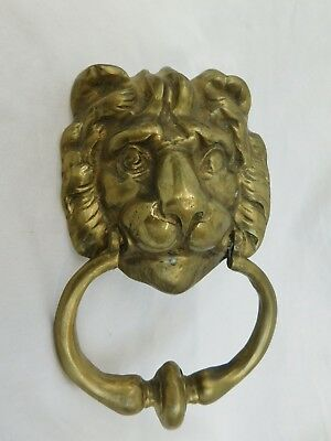 "Vintage Brass Lion Head Door Knocker 8"" Tall Dimensional High Releif"