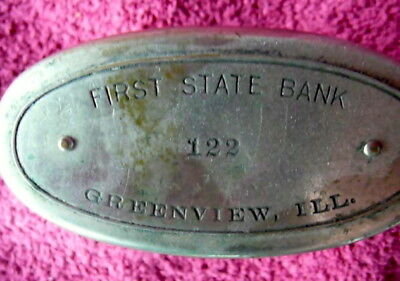 Vintage Old Metal Savings Bank First National Bank Greenview Illinois Il Ill -