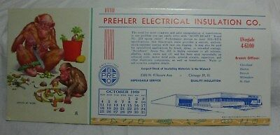Vtg Advertising Blotter Prehler Electrical Insulation Chicago Ill 1959 Monkey Ad