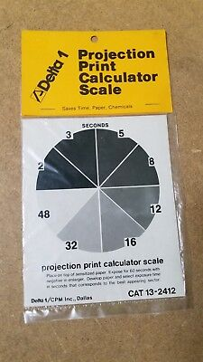 """Delta 1 Projection Print Calculator Scale 4 X 5"""" Perfect Exposures Evert Time"""