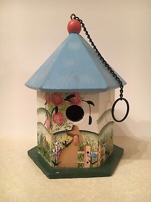 """Small Decorative Hand-Painted 6"""" Wooden Bird House"""