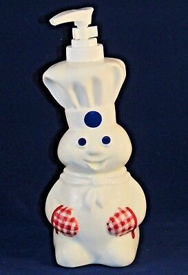 NIB 2003 Pillsbury Doughboy Chef with Red Gingham Mitts Ceramic Soap Dispenser