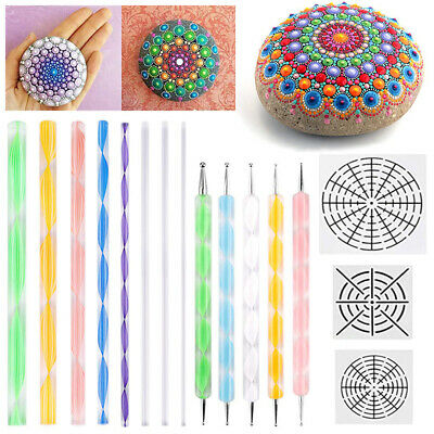 16pcs Dotting Painting Mandala Rocks Painting Stencils Acrylic Rod Ball Stylus