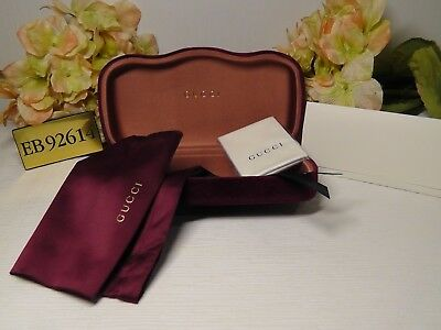 GUCCI Red Velvet Large Sunglasses Case + Pouch + Cleaning Cloth