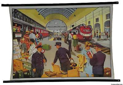 vintage rollable poster old school wall chart life at railway railroad station