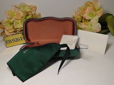 GUCCI Green Velvet Large Sunglasses Case + Pouch + Cleaning Cloth