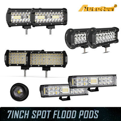 7inch Cree LED Work Light Bar Spot Flood Combo Driving Lamps Dual/Tri/Quad Row