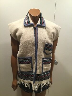 Vtg Mexican Tapestry Wool Navajo Blanket Poncho Fringed Woodstock Vest Jacket