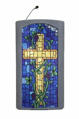 Church Desk Presentation Pulpit Wood Christian Lectern Stained Glass Front Gray