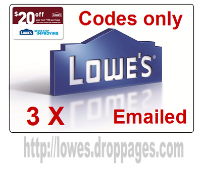 (3X)THREE LOWES $20 OFF $100 DISCOUNT.3Coupons Online Codes Only (fast delivery)
