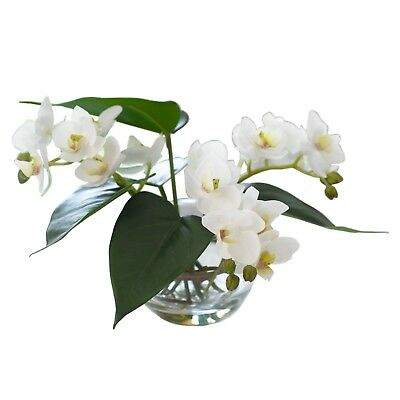 Artificial White Orchid Flower Arrangement Glass Bowl Centrepiece Plant
