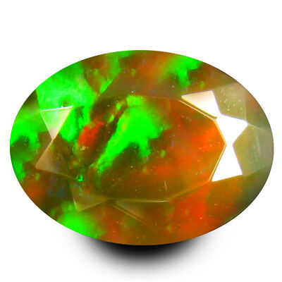 1.83 ct TOP BEAUTIFUL GEM RAINBOW COLOR RARE GREEN FLASH WELO FACETED BLACK OPAL