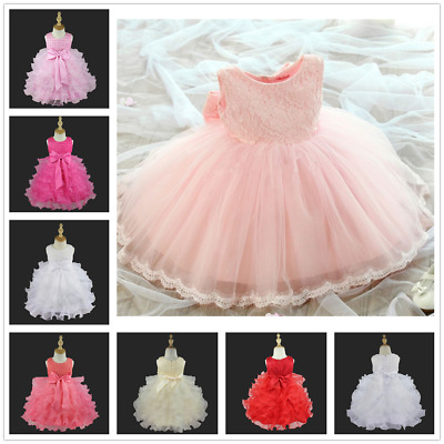 Kids Baby Flower Girls Pageant Lace Dress Wedding Bridesmaid Party Tutu Dresses