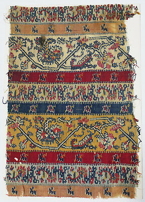 18C India Textile Fragment - Kashmir Brocade, Embroidery, Stripes, Flower