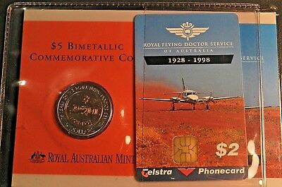 1998 Royal Flying Doctor Commemorative $5 With Phone Card