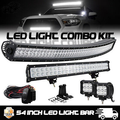 """Curved 52Inch LED Light Bar + 24"""" Lamp + 4"""" PODS OFFROAD SUV 4WD ATV VS 52/42/20"""
