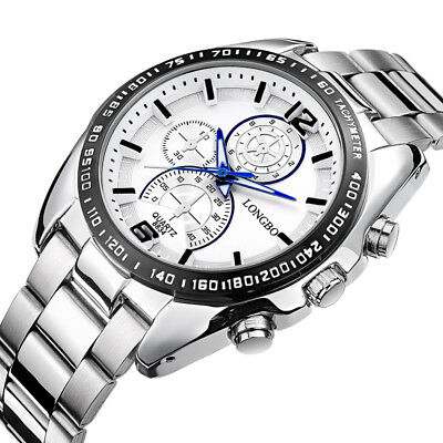 Men Fashion Luxury Stainless Steel Band Quartz Military Sport Dial Wrist Watch