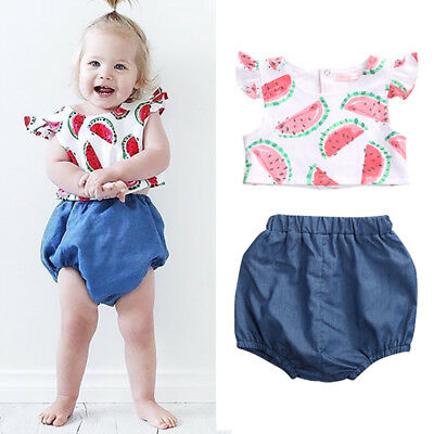 Summer Baby Girls Watermelon Print Tops+Shorts Pants 2PCS Outfits Clothes Set