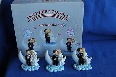 Lot of 12 Wedding Figurines In Display Box 3 Designs Cake Toppers Gifts