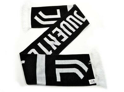 Juventus Football Club Official Black And White Home Scarf Badge Crest Knit