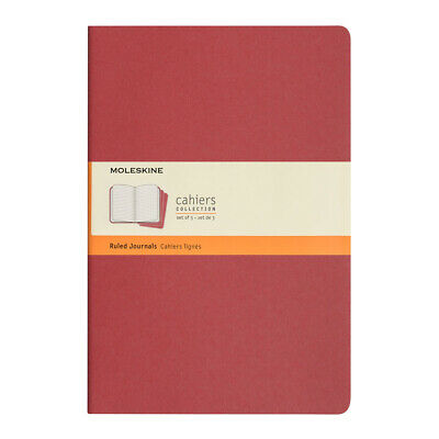 NEW Moleskine Cahier Large Deep Red Ruled Notebook Set 3pce