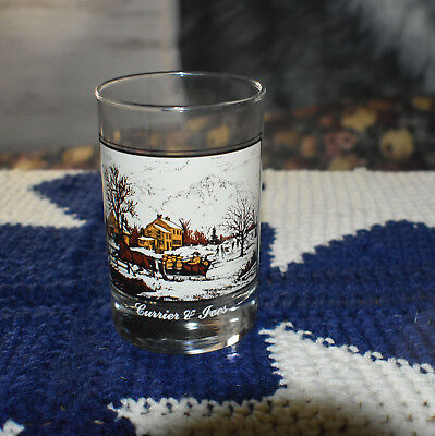 Vintage Currier  And Ives  Drinking Glass 1981 American Farm In Winter