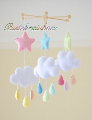Pastel rainbow cloud nursery mobile baby cot mobile kids room decor