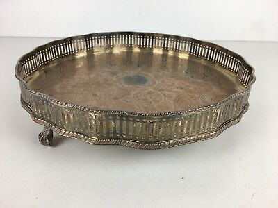 Vintage Silver Plate? Gallery Three Footed Inscribed Design Circular Tray