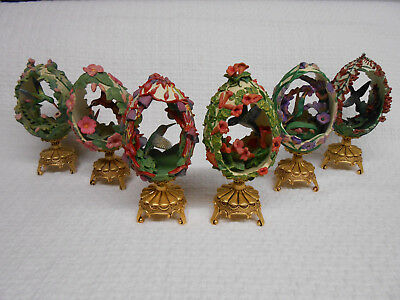 Lot of 6 Franklin Mint House Of Faberge Hummingbird Eggs w/ Stands