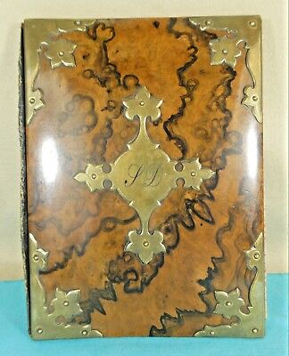 Edwardian Arts & Crafts Walnut Wood & Brass Document Folder Blotter Ca 1905