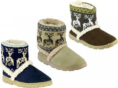 Mirak DENMARK JUNIOR Girls Warm Faux Fur Lined Cushioned Nordic Bootie Slippers
