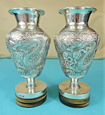 Magnificent Chinese Sterling Silver Vases Dragon Cloud Pearl Tiger Eye Wang Hing