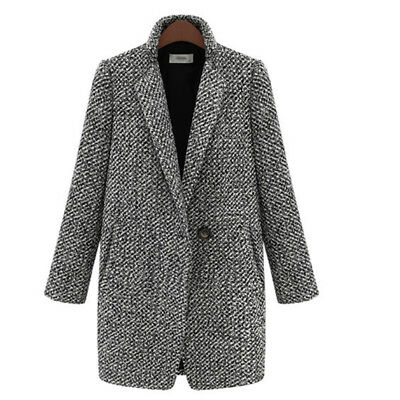 Women Spring Winter Coat Houndstooth Coat Pocket Outerwear Oversize N7
