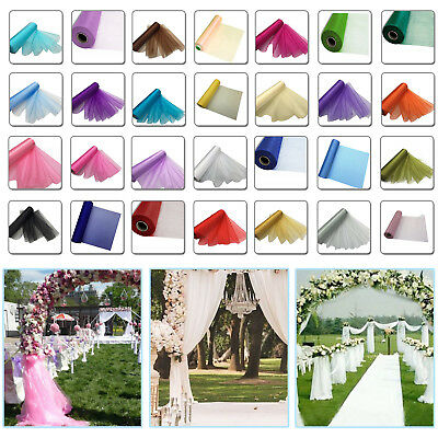 25m X 29cm Organza Rolls Snow Sheer Wedding Party Chair Bows Sash Table Runner