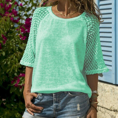Women O-neck T-shirt Ladies Lace Patchwork Fashion Casual Tee Loose Tops LH