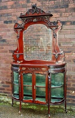 Large Ornate Mahogany Ebonised Victorian Chiffonier Display Mirrored Sideboard