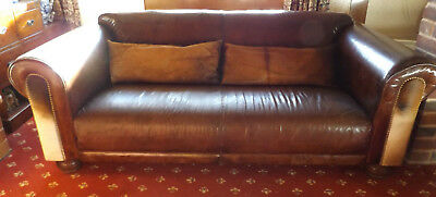 1920's Brown Leather/Hide large Chesterfield roll back sofa 2 hide cushions used