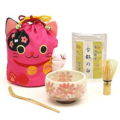 Matcha Tea Set Manekineko Bag/Powder/Bamboo Whisk/Bowl/Scoop Pink Ocha Japanese