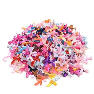 100pcs Mini Satin Ribbon Flowers Bows Gift DIY Craft Wedding Decoration