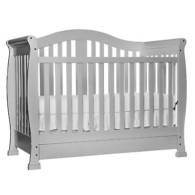 5-in-1 Convertible Gray Baby Crib With Drawer Storage Converts Into Toddler Bed