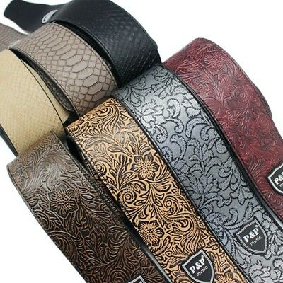 PU Leather Guitar Brown Fit Strap Embossed Acoustic Electric Adjustable Strap