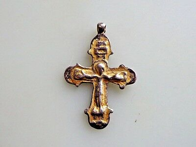 Medieval Byzantine silver traditional cross with Corpus Christi.11th-13th AD
