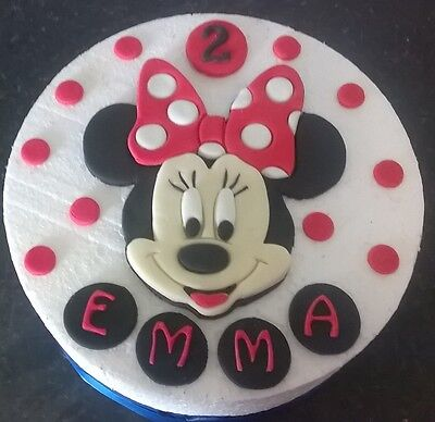 Large Handmade Edible Minnie Mouse style cake decoration topper - personalised