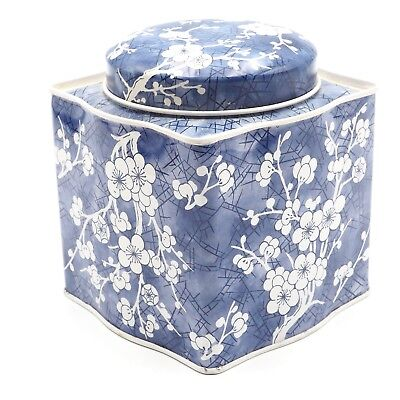 """Vintage 4.5"""" Tall Blue Damer Collectible Decretive Storage Tin Made In England"""